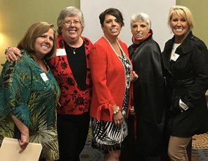 "Some of your ""blood-sucking"" leadership team include, from left, Director Lori Miller Smith, Executive Director Diane Slaughter, President Traci Nelson, Secretary Patty Barnhart and Director Elaine Secrist."